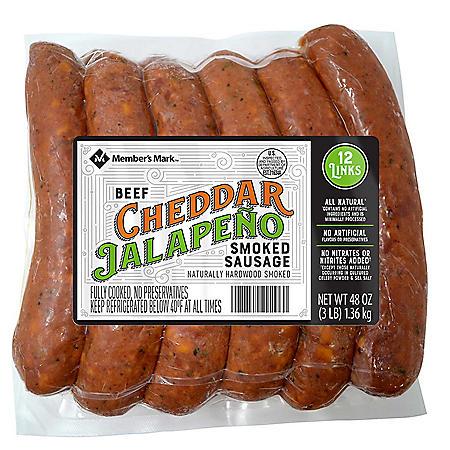 Members Mark Beef Cheddar Jalapeno Sausage (12 links)
