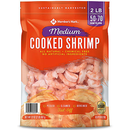 Member's Mark Cooked Medium Shrimp (2 lb. bag, 50-70 shrimp per pound)