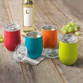 Member's Mark Insulated Wine Glass 4-Pack Set (Assorted Colors)