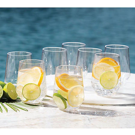 Member's Mark Tritan Stemless Wine Glasses, 8 Pack (Assorted Colors)