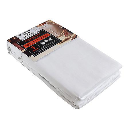 """Member's Mark 3-Piece White Pocket Apron, 30""""W x 33""""L, 65% Polyester/35% Cotton"""