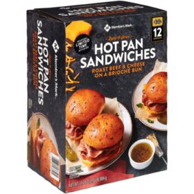 Member's Mark Hot Pan Sandwiches, Roast Beef & Cheese - Frozen (12 ct.)
