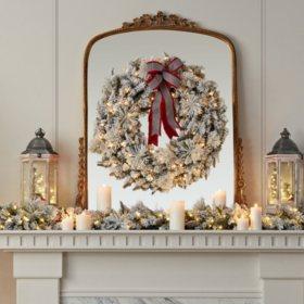 """Member's Mark 39"""" Pre-Lit Flocked Wreath"""