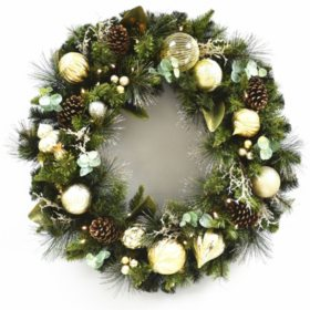 "Member's Mark 39"" Pre-Lit Decorative Gold Wreath"