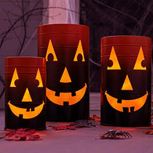 Member's Mark Jack-o'-Lantern Barrels (Set of 3)