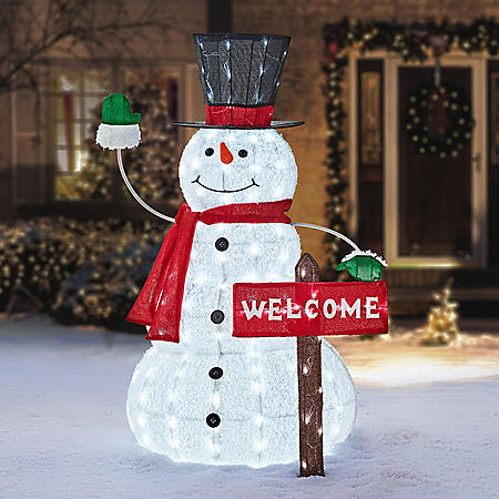 "Member's Mark 52"" LED Snowman with Welcome Sign"
