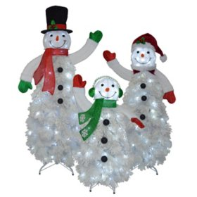 members mark set of 3 flocked snowman family - Outdoor Lighted Presents Christmas Decorations