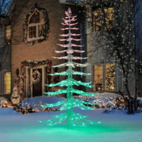 members mark 7 ft led muti color crystal iced tree - Where To Find Outdoor Christmas Decorations