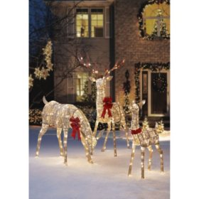 members mark set of 3 glittering thread deer family