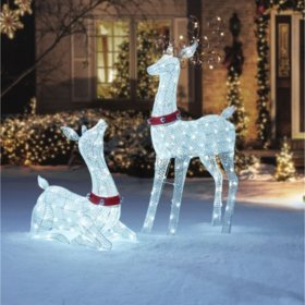 members mark set of 2 deer family - Christmas Lighted Horse Carriage Outdoor Decoration