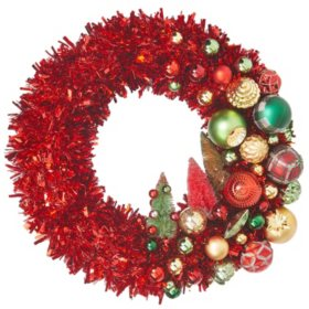 "Member's Mark 24"" Shatterproof Ornament Tinsel Red Wreath"