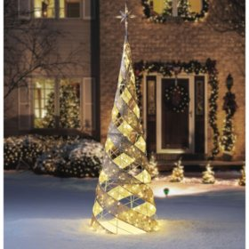 members mark 7 pre lit gold mesh spiral cone tree - Sams Club Outdoor Christmas Decorations