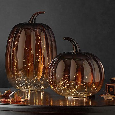 Member's Mark Glass Pumpkins Decor with Micro Lights (2 pc.)