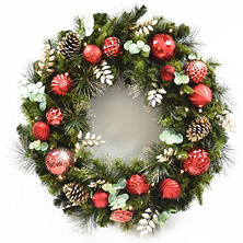 "Member's Mark 39"" Pre-Lit Decorative Red Wreath"