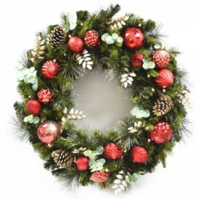 members mark 39 pre lit decorative - Holiday Time Christmas Decor 9 Flocked Garland Green