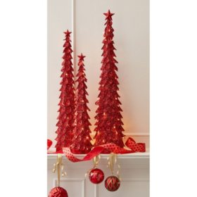 Member's Mark Red Glitter Cone Tree (Set of 3)