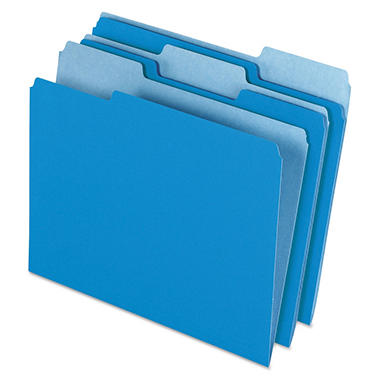 Pendaflex® Colored File Folders 1/3 Assorted Cut Top Tab, Blue/Light Blue (Letter, 100ct.)
