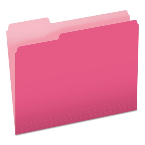 Pendaflex 1/3 Top Tab File Folders, Two-Tone Pink (Letter, 100 ct.)