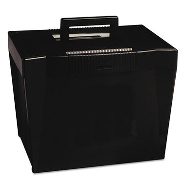 pendaflex plastic portable file storage box black letter