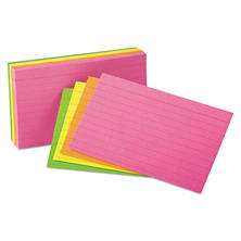 "Oxford - Index Cards, Ruled, 3 x 5"", Glow Assortment - 100 Cards"