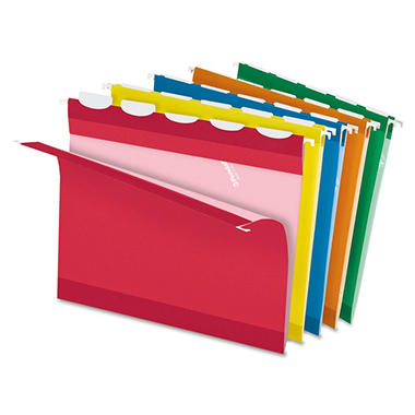 Pendaflex - Ready-Tab Lift Tab Reinforced Hanging Folders, 1/5 Tab, Letter, Assorted - 25/Box