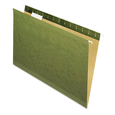Pendaflex Tabless Reinforced Hanging File Folders, Standard Green (Legal, (25 ct.)
