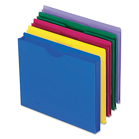 "Pendaflex 1"" Expanding Poly File Jackets, Assorted Colors (Letter, 10 ct.)"