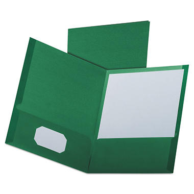 Oxford - Linen Finish Twin Pocket Folders, Letter, Hunter Green - 25/Box