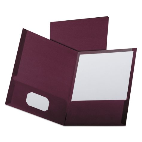 Oxford - Linen Finish Twin Pocket Folders, Letter, Burgundy - 25/Box