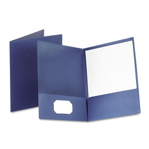 Oxford - Linen Finish Twin Pocket Folders, Letter, Navy -  25/Box