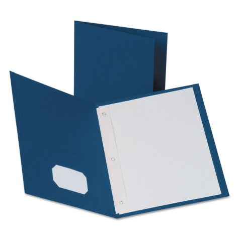 Oxford Twin Pocket Portfolios with Fasteners, Leatherette Grain Finish, 25ct., Select Color