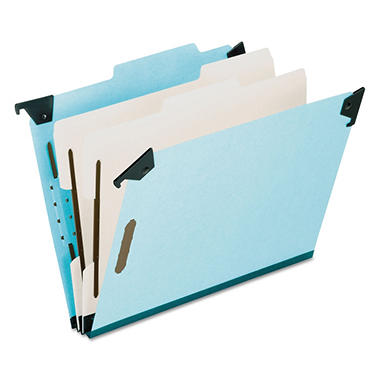 Pendaflex 2/5 Tab 6-Section Pressboard Hanging Classification Folder, Light Blue (Legal)