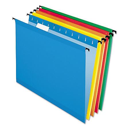 Pendaflex 1/5 Tab SureHook Hanging File Folders, Assorted Colors (Letter, 20 ct.)