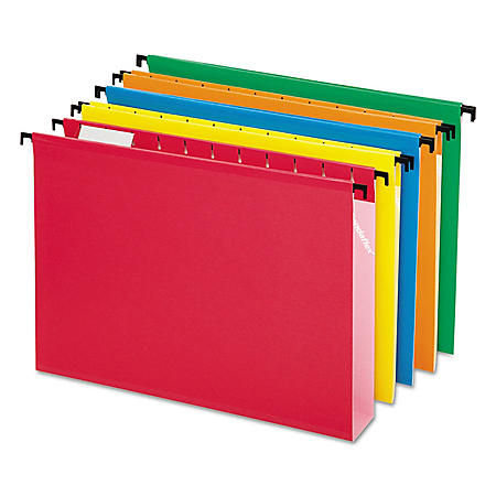 "Pendaflex 1/5 Tab SureHook 2"" Expansion Hanging File Folders, Assorted Colors (Letter, 20 ct.)"