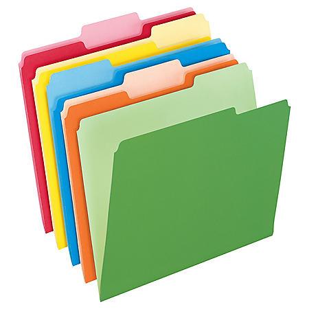 Pendaflex 2-Tone Color File Folders, Letter, Assorted, 1/3-Cut , 100 Count