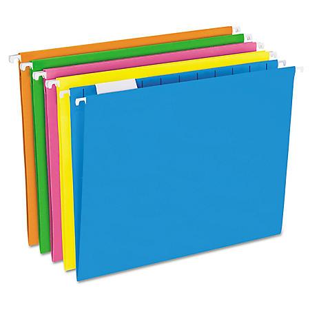 Pendaflex 1/5 Tab Hanging File Folders, Glow Assorted Colors (Letter, 25 ct.)