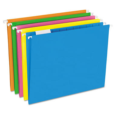 Pendaflex 1/5 Tab Hanging File Folders, Glow Assorted Colors (Letter, 25 ct.)