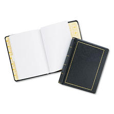 Wilson Jones - Looseleaf Minute Book, Black Leather-Like Cover, 125 Pages (250 Cap) -  8 1/2 x 11