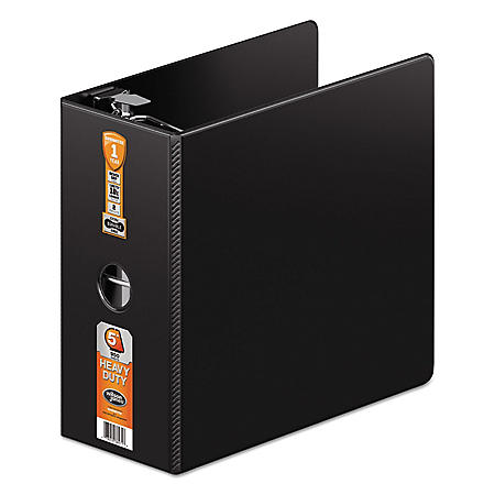 "Wilson Jones - Heavy-Duty No-Gap D-Ring Binder With Label Holder, 5"" Capacity -  Black"