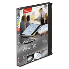 "Wilson Jones View-Tab Resentation Binder, 5-Tab, 5/8"" Capacity, Black"