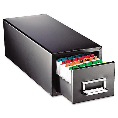 SteelMaster Drawer Card Cabinet, Black (Holds 1,500 5 x 8 cards)