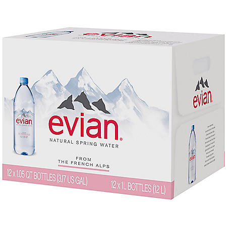 Evian Natural Spring Water (1L / 12pk)