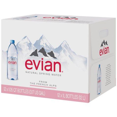 Evian Natural Spring Water (1 L, 12 pk.)