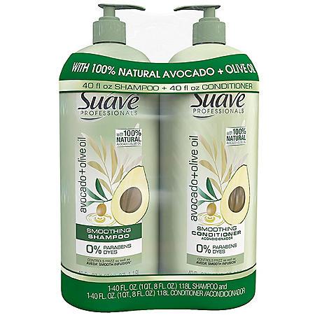 Suave Professionals Shampoo & Conditioner, Avocado + Olive Oil (40 fl. oz., 2 pk.)
