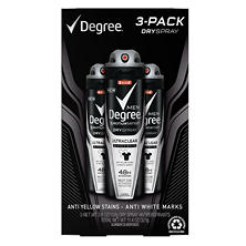 Degree Motionsense DrySpray for Men, Ultraclear Black & White (3.8 oz., 3 pk.)