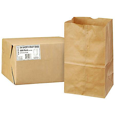 Duro Member's Mark Bag 20# Shorty Kraft Bags - 500 ct.
