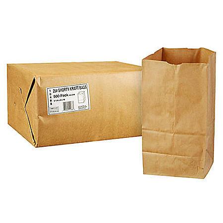 Duro Member's Mark Bag 25# Shorty Kraft Bags - 500 ct.