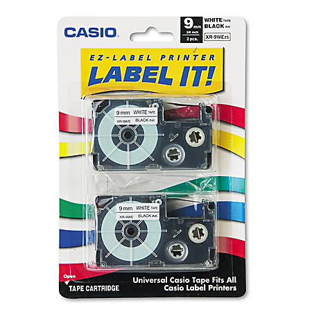 Casio Tape Cassettes for KL Label Makers, 9mm x 26ft, Black on White (2 ct.)