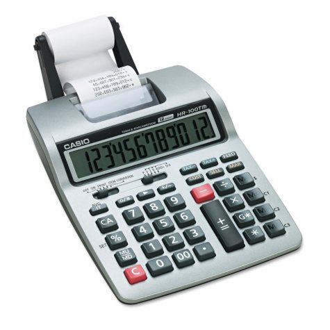 Casio HR-100TM Two-Color Portable Printing Calculator, 12-Digit LCD, Black/Red