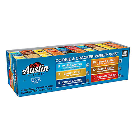 Austin Cookies and Crackers Variety Pack (1.52 oz., 45 ct.)